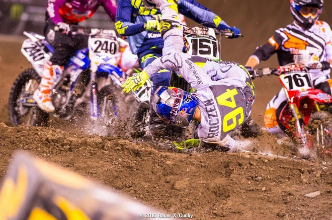 Roczen escaped this crash with nothing more than slight soreness in his hand and foot.