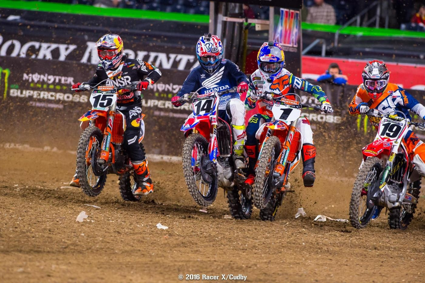 Wilson (15), Seely (14), Dungey (1) and Bogle (19) fight for position off the start.