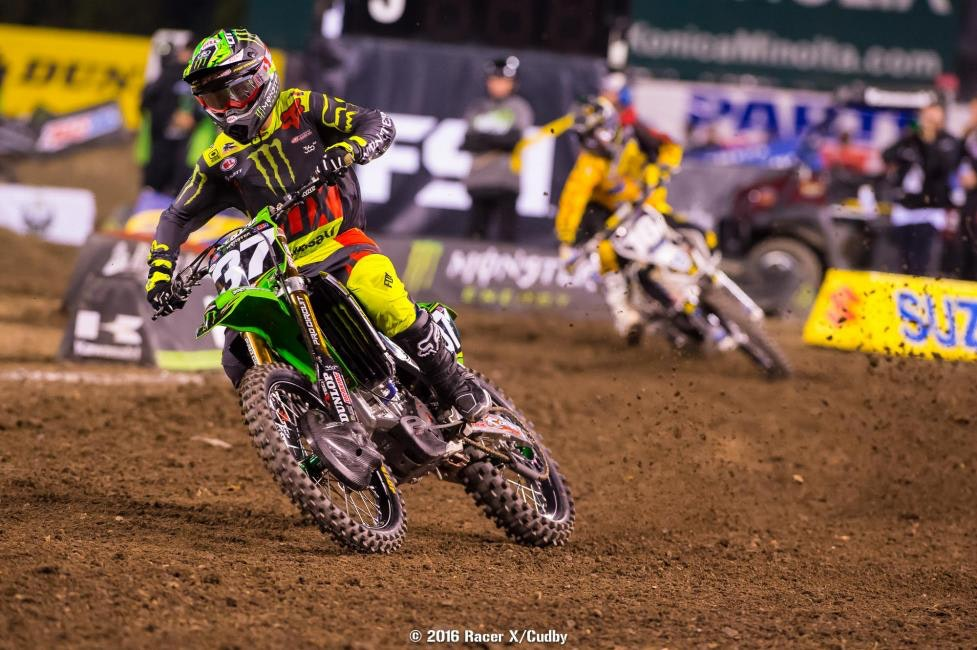 Joey Savatgy was in the fight for awhile, running second until he bailed in the whoops.