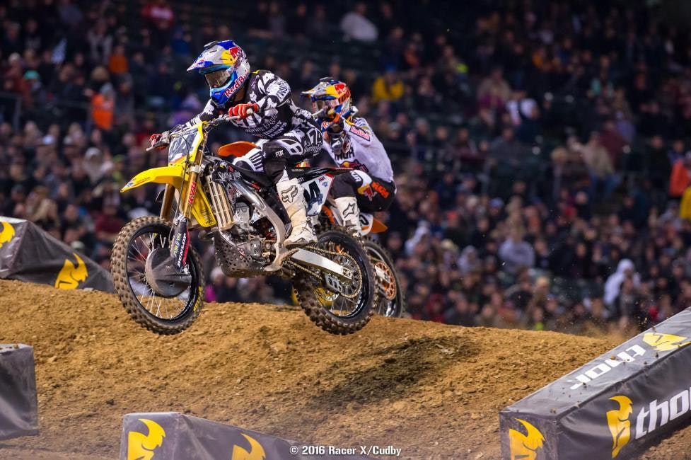 Roczen worked hard to get Musquin early for second, but Dungey is too much of a killing machine right now to do much with him. Kenny will keep working in hopes of flipping the momentum.