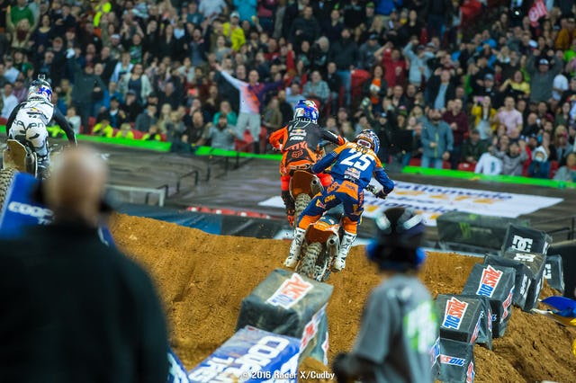 At this point Musquin has cased a jump and is bouncing right---and Dungey has taken the lead on the last lap.