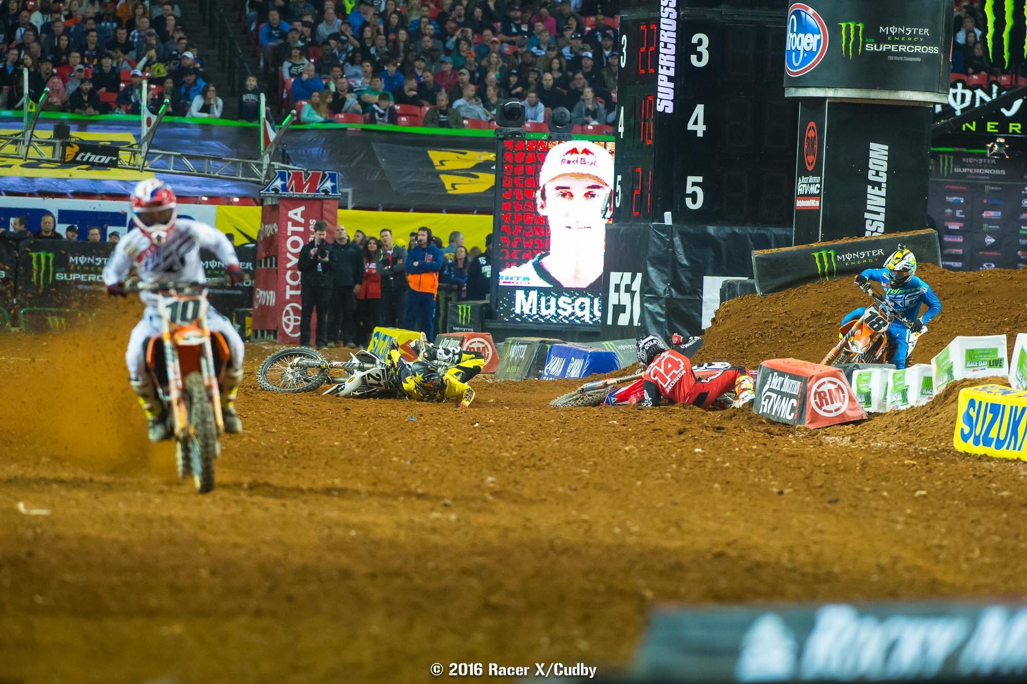 If the battle for the win hadn't been so tense and exciting, everyone would have been talking about all the drama between Cole Seely and Jason Anderson. This photo is from early in the race, but Anderson took Seely down on the final lap.