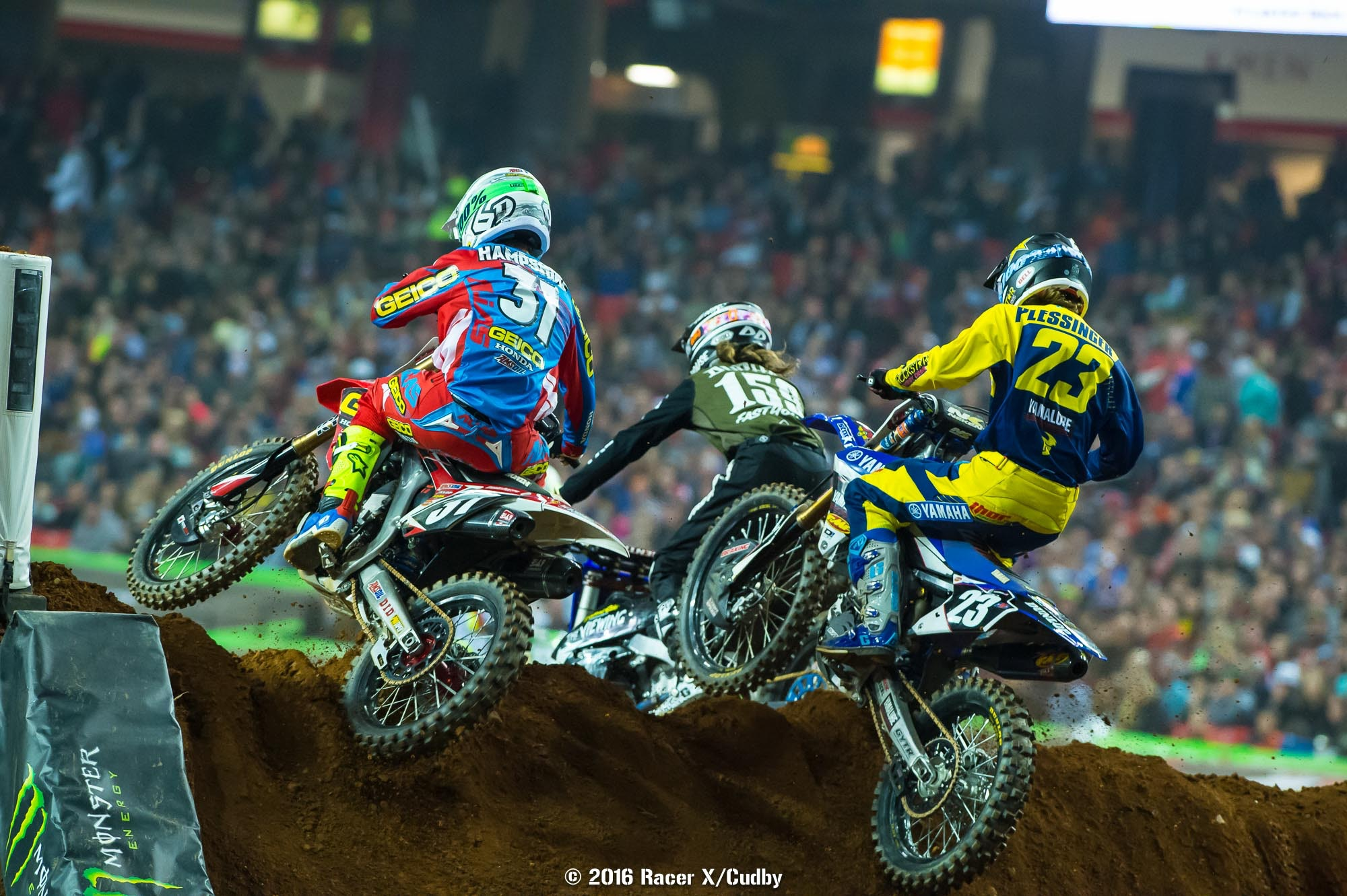 Furious battles took place all over the track in opener, but Plessinger (23) got the better of Hampshire and Durham.