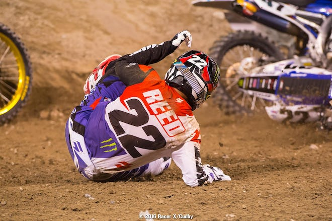 Not good seeing stuff like this from Chad Reed--this happened off the start in the main. We think he'll be okay but his night was over.