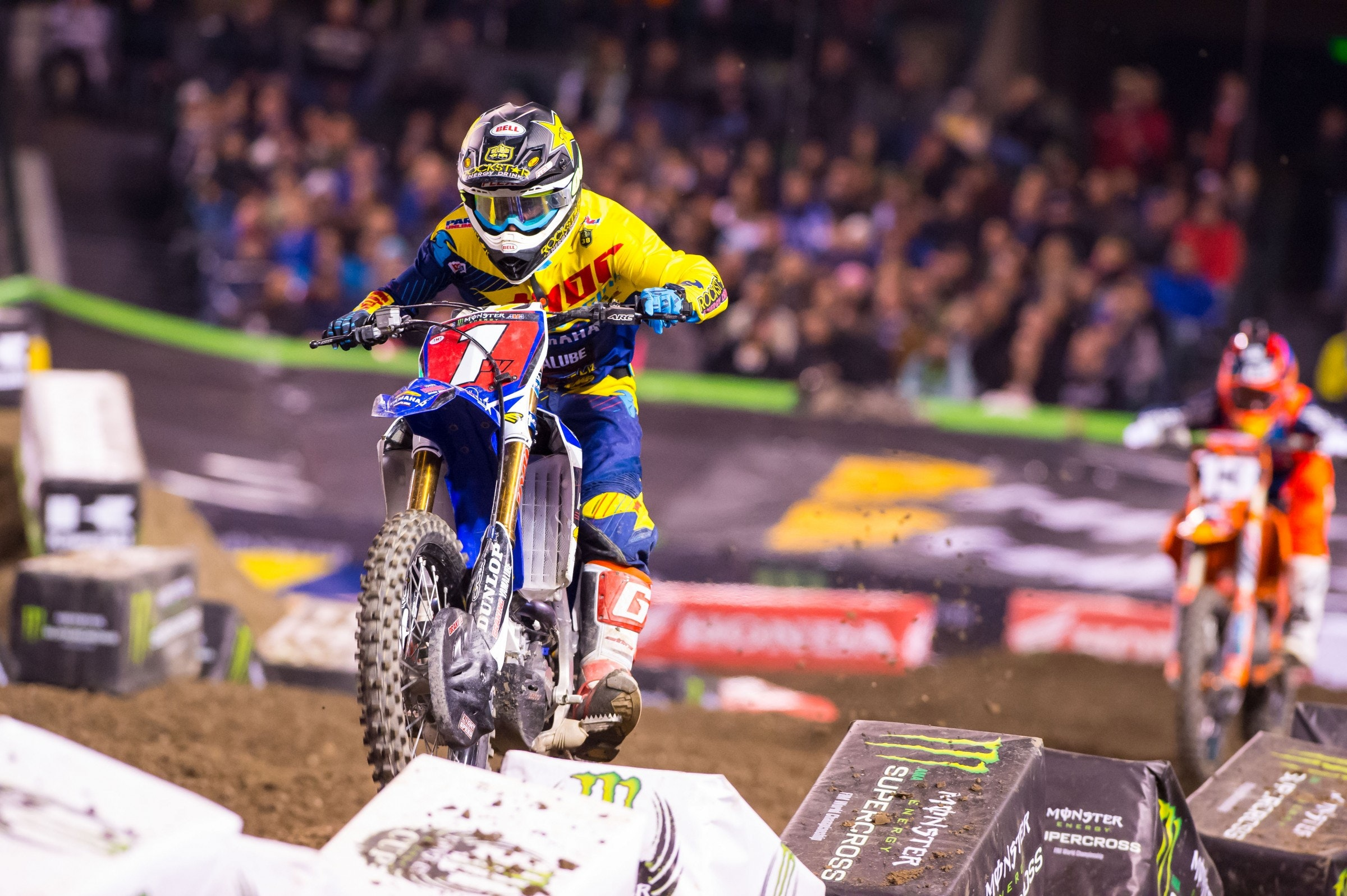 Webb takes the 250SX West Region red plate into Santa Clara.