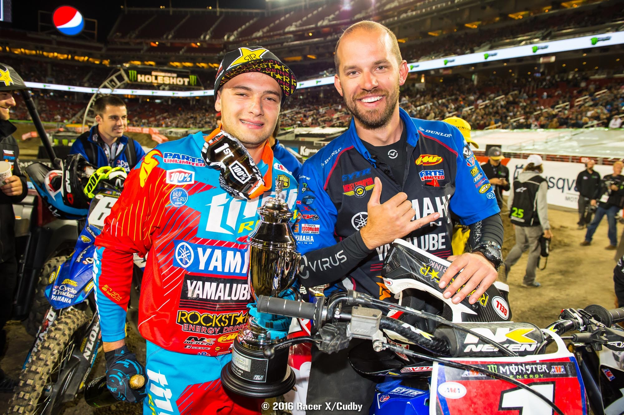 Crash or no crash during the week, Cooper Webb and his mechanic, Eric Gass, had plenty to be happy about in Santa Clara.