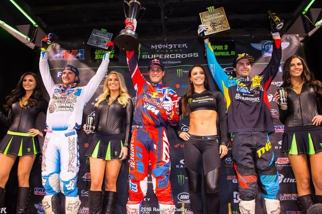 From left: Roczen (2nd), Dungey (1st) and Anderson (3rd) were the 450 podium.
