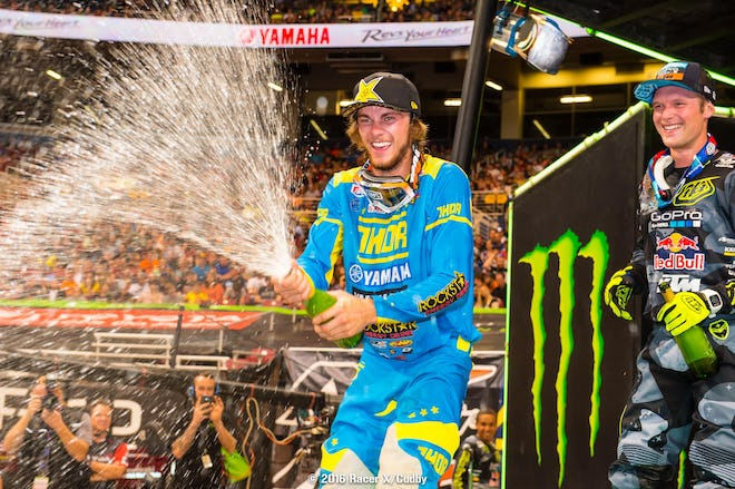 This is far from the last bottle of champagne Plessinger will be spraying on the podium.