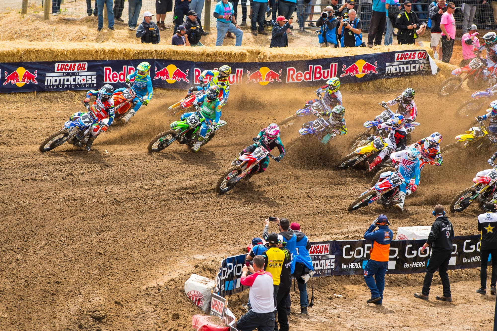 Cole Seely edged Trey Canard for the holeshot by mere inches.