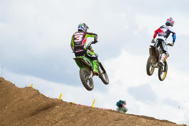 Tomac thought he had Baggett covered after passing him in moto one, but Baggett caught fire late in the moto and got Tomac back for third.