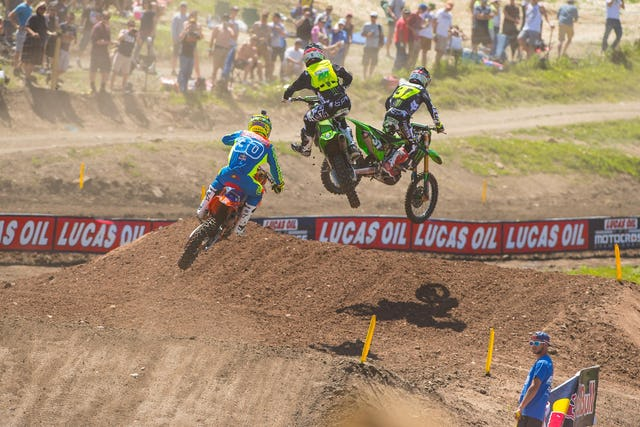 Adam Cianciarulo was holding down second in the final 250 moto but crashed out. His bike was twisted up, but the good news is he's okay.
