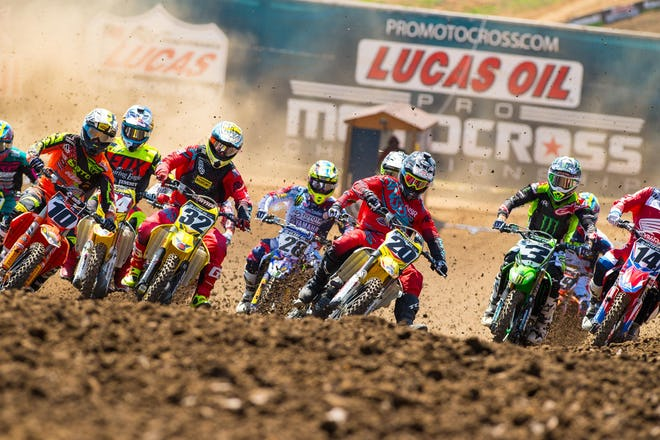 Rare holeshot for Broc Tickle (20) who rode very well to end up third overall with 6-3 finishes.
