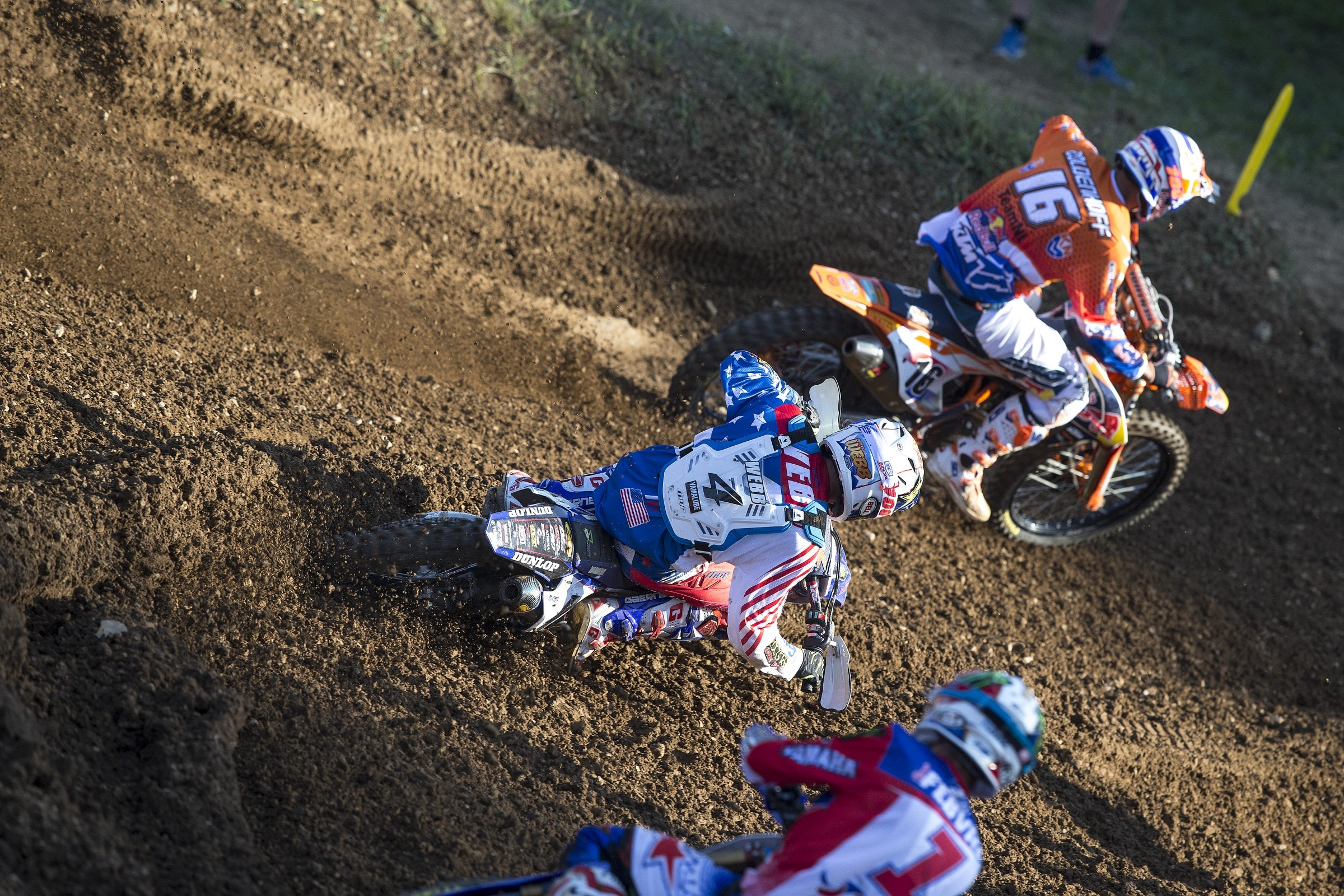 The calculators needed to be broken out once this trio of Coldenhoff (16), Webb (4), and Febvre (1) linked up on the track.