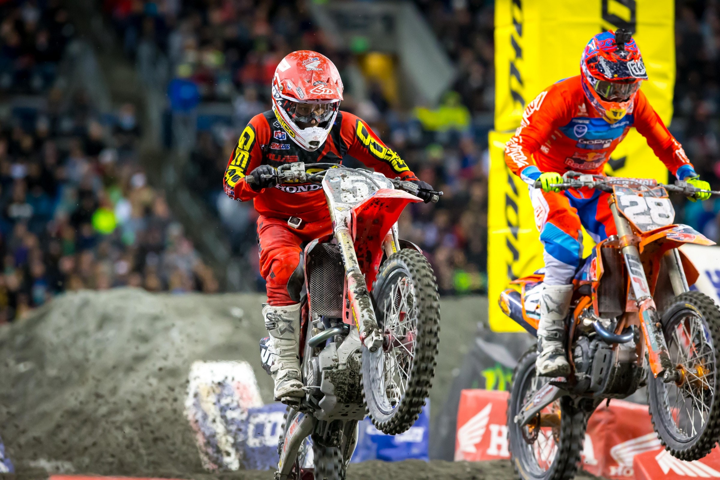 Decotis (left) and Oldenburg (right) went at it for their first career podiums. Oldenburg got the spot and Decotis crashed on the last lap trying to get him back.