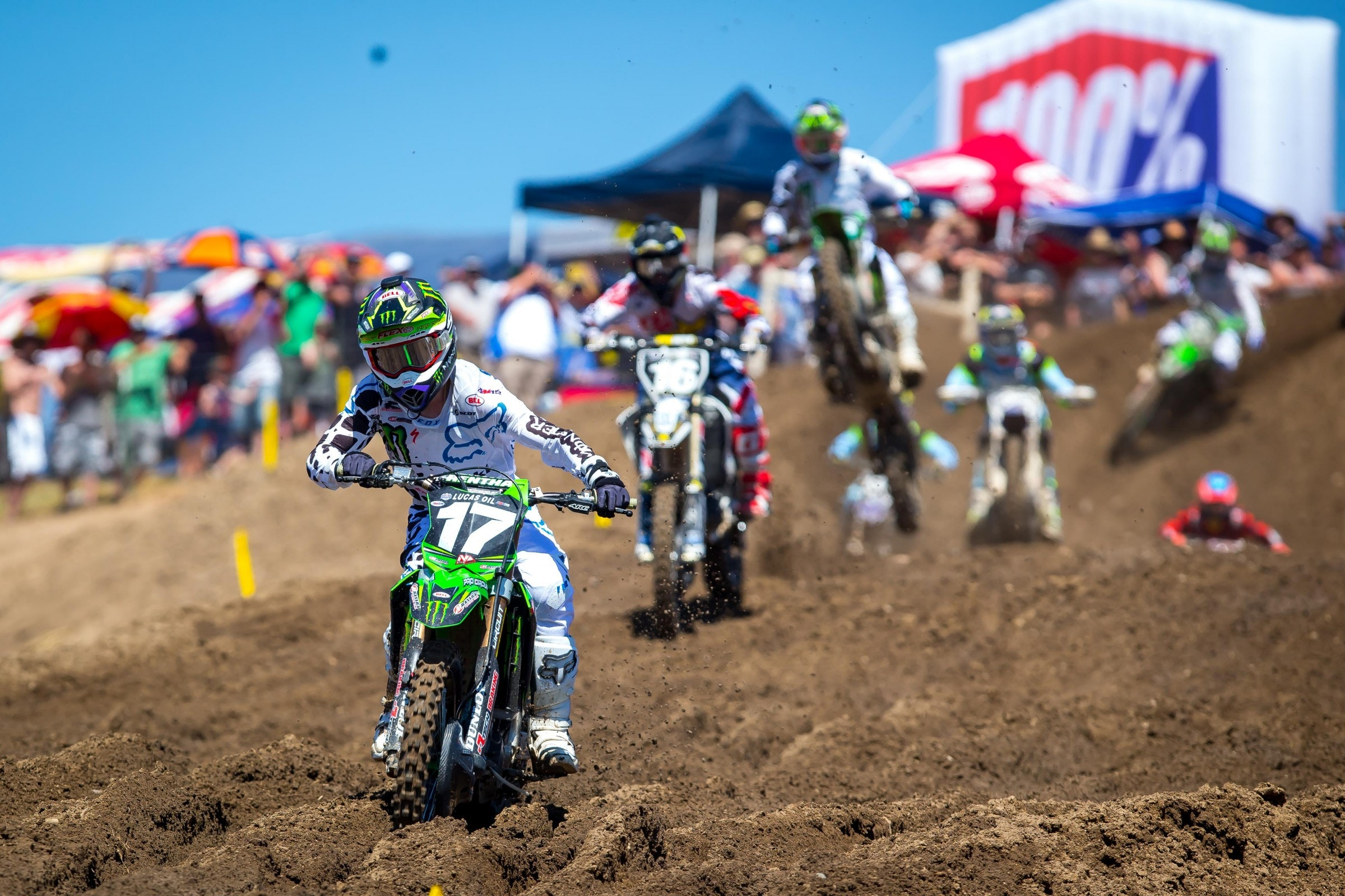 Joey Savatgy initially led the second moto but Zach Osborne took the lead away without incident.