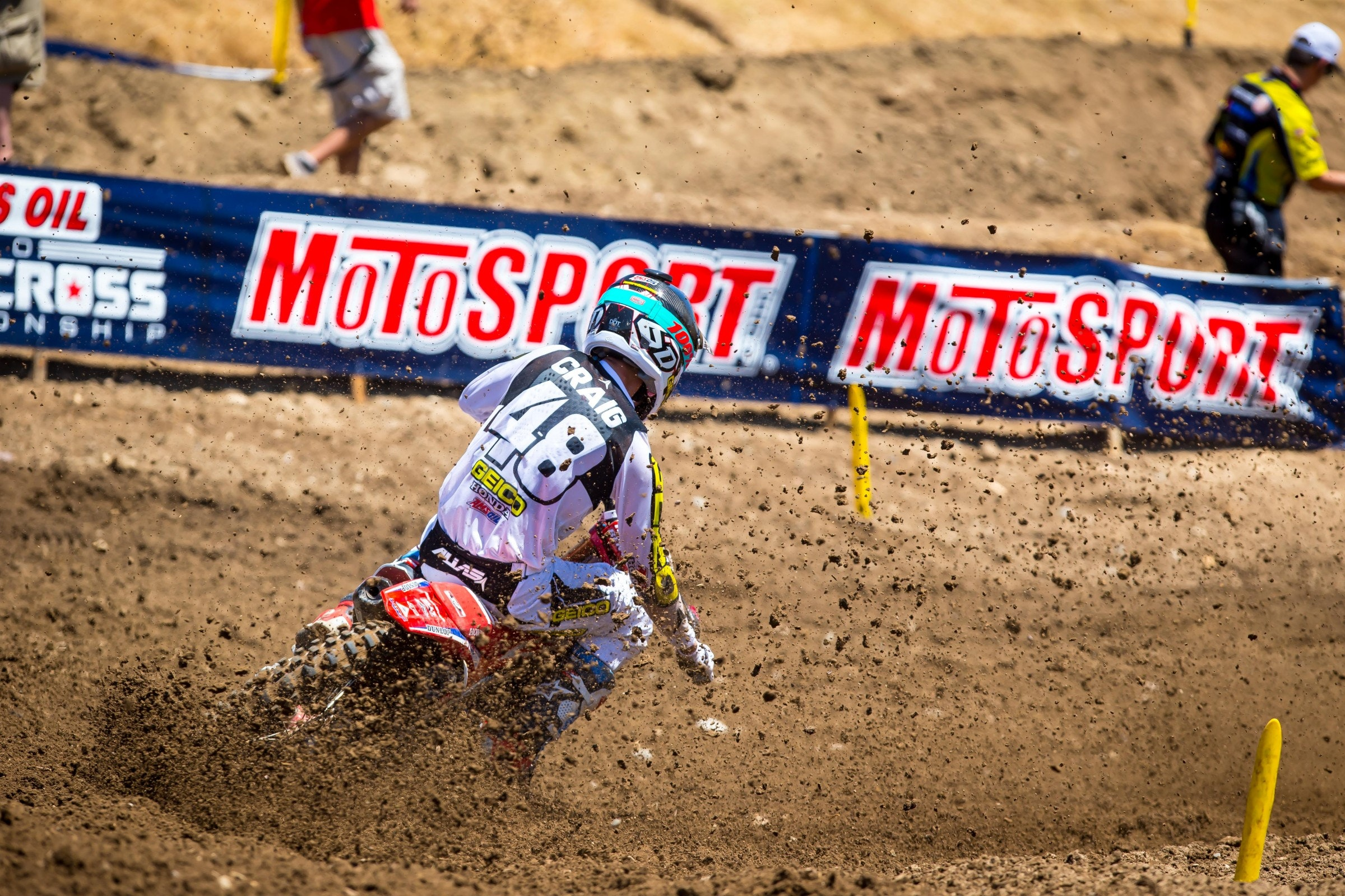 Christian Craig holeshot the first 450 moto but got cross rutted and went down early.