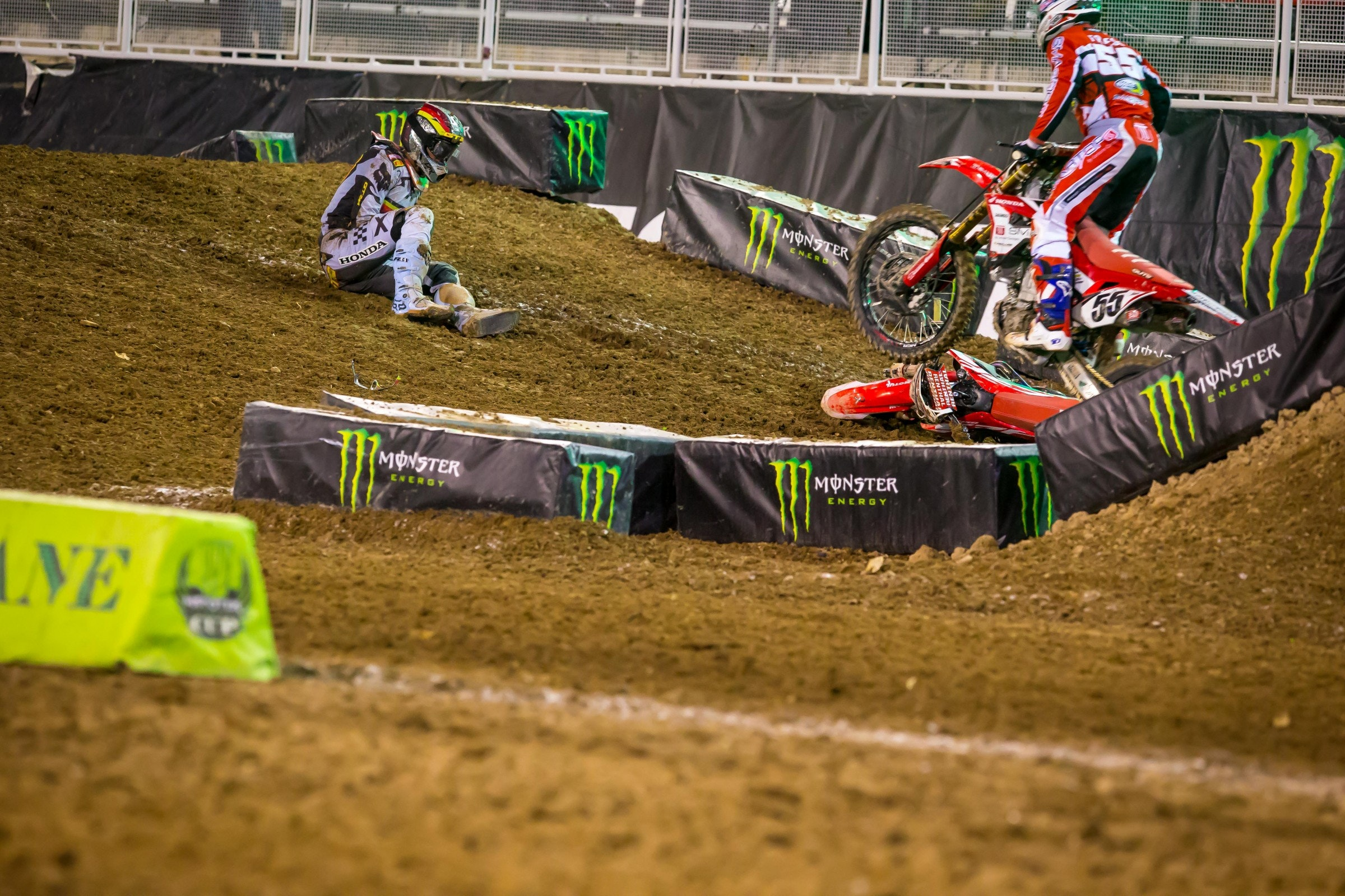 Gajser crashed in the first main event and did not return.