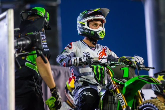Eli Tomac's night was also brief, as he crashed in the first main event and called it a night.