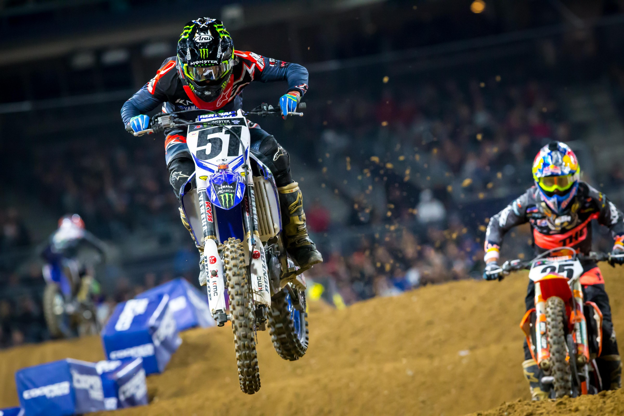 Justin Barcia and Marvin Musquin had a breat battle for third. Barcia intially took the spot away from Musquin, but Musquin got stronger as the race wore on and took it back. Barcia ended up sliding backward all the way to eighth.