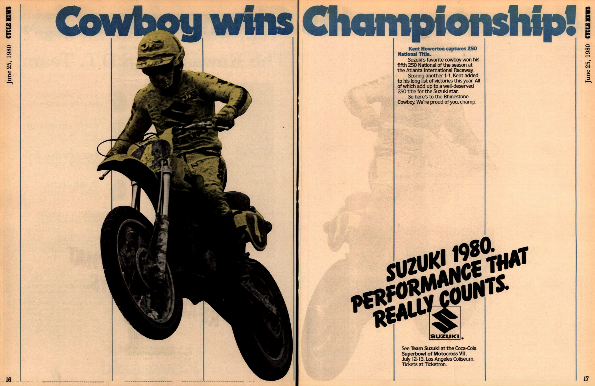 With his win, Howerton clinched the 250 AMA National Championship, his second career title and first on a Suzuki.