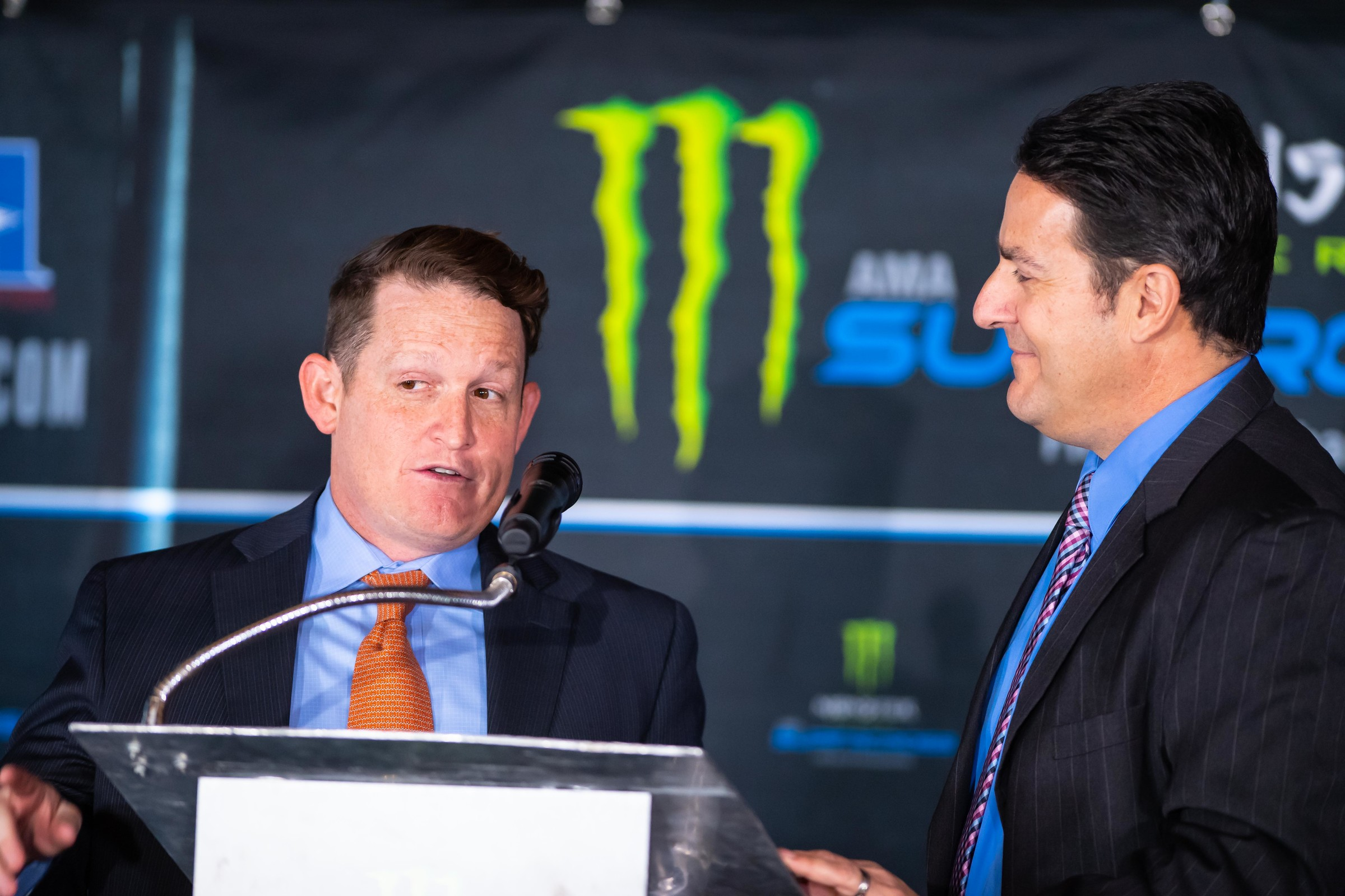 Ricky Carmichael, who will serve as the color analyst for the 2019 Monster Energy AMA Supercross, speaks at the press conference.