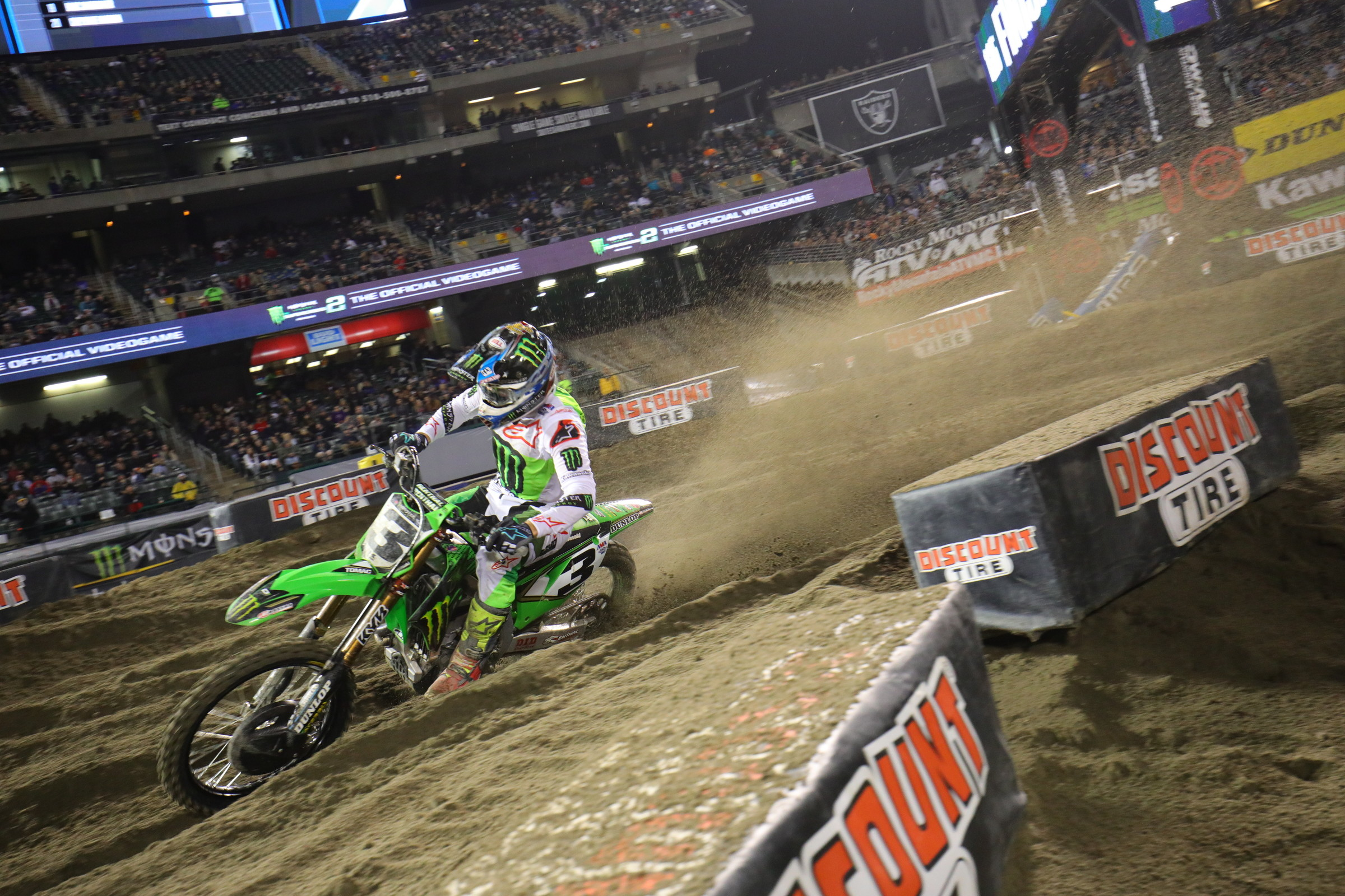 Monster Energy Kawasaki had a good night in the heat races. Eli Tomac won one and Joey Savatgy won the other.
