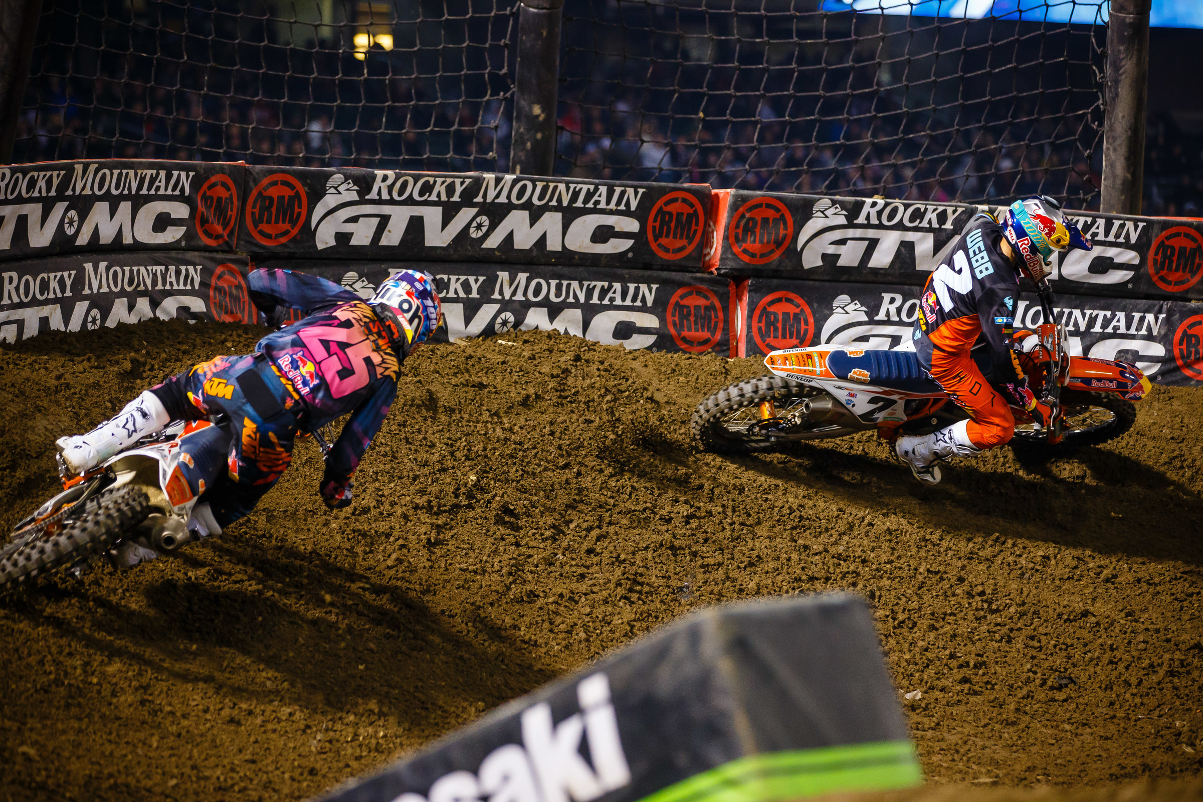 Cooper Webb and Marvin Musquin enjoy the berm made possible by the...Matthes Nets!