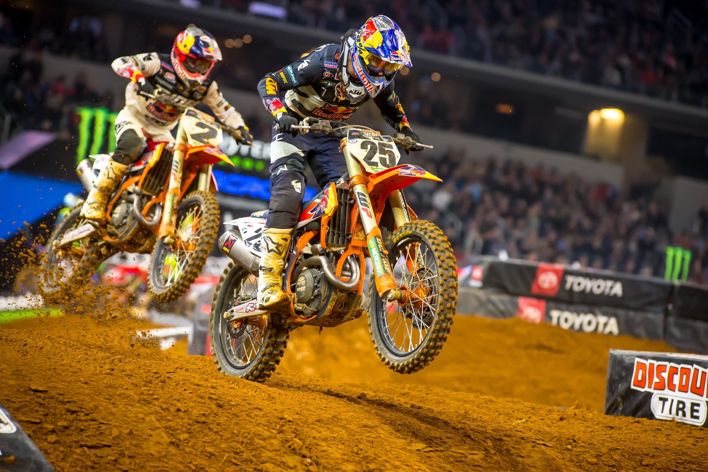 Late in the race, Webb was able to get his teammate Musquin for second, while both kept Roczen in sight.
