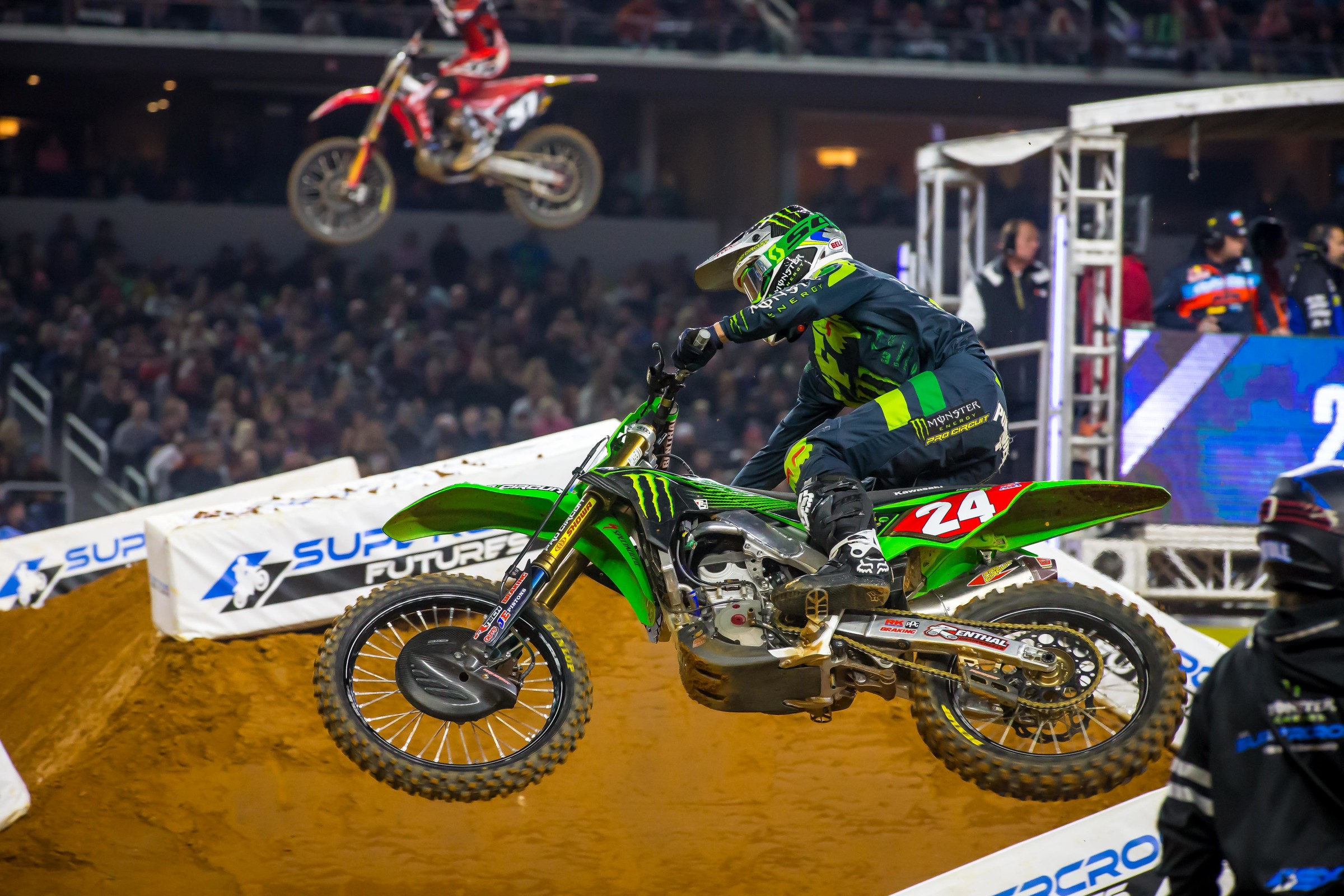 Austin Forkner held steady while Chase Sexton and Jordon Smith tried to track him down.