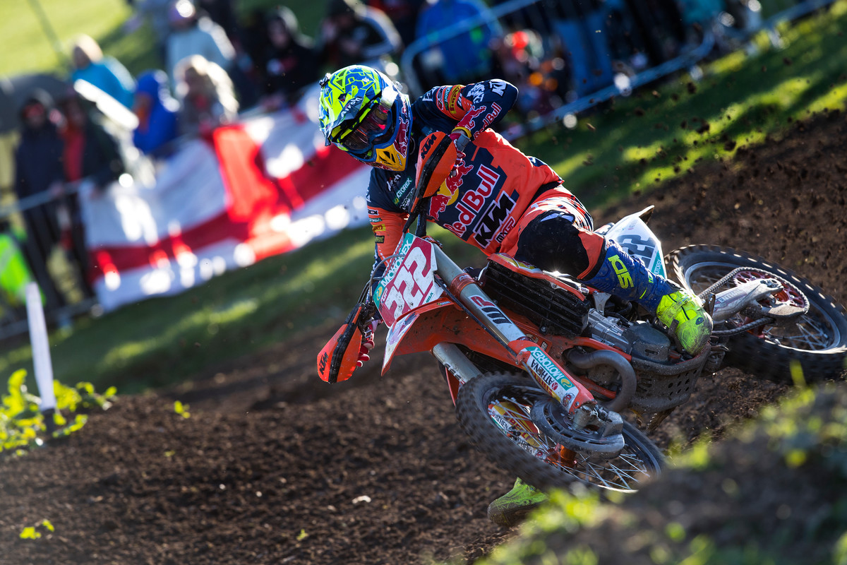 Antonio Cairoli sits atop the premier class through two rounds, following a 1-2 day at Matterley Basin.