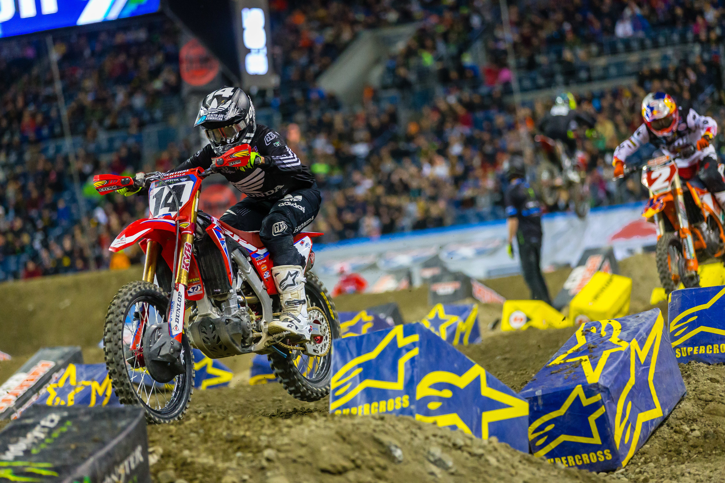 Cole Seely was one of the riders who was fast in the whoops early but struggled more with them as the night went on.