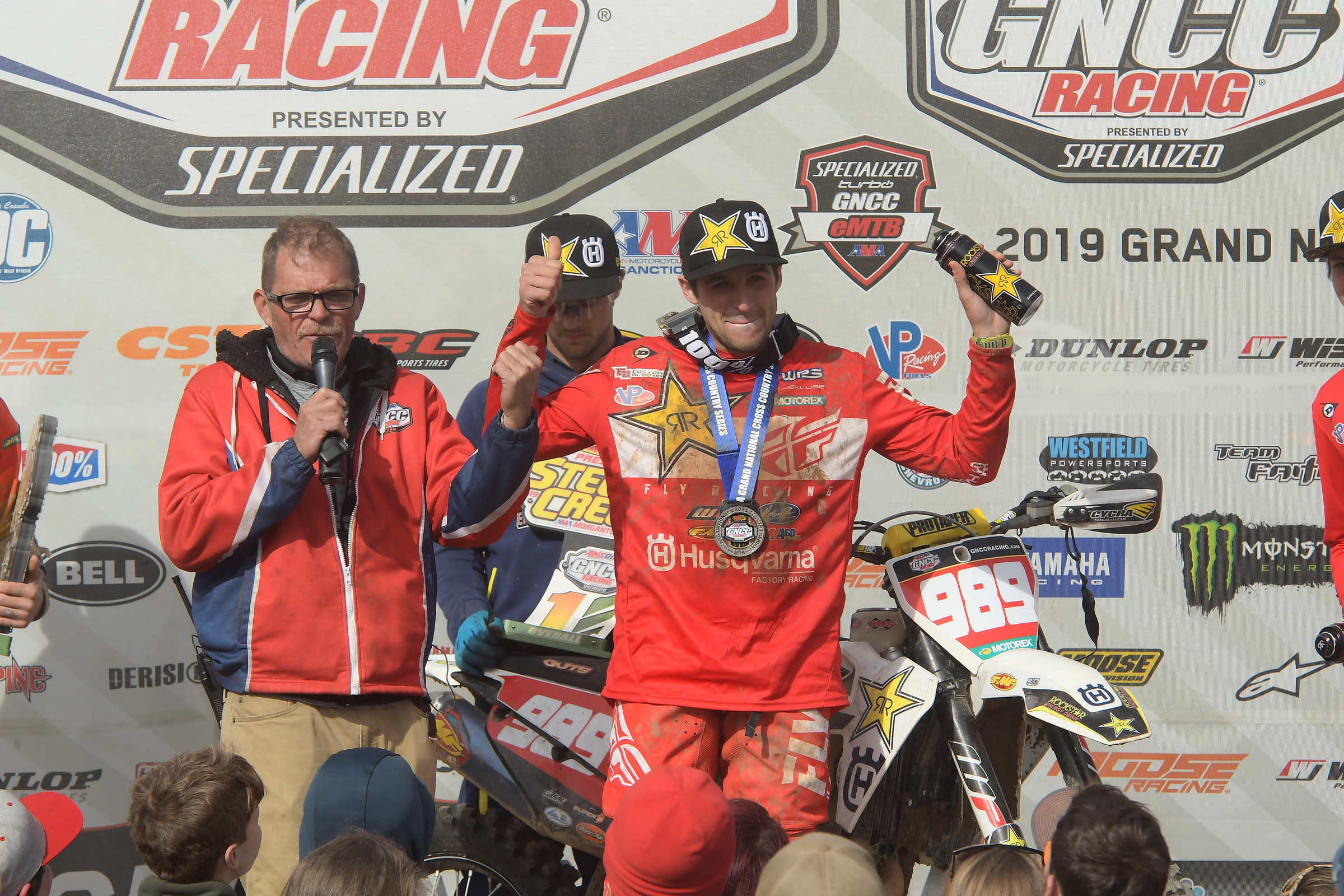 Thad Duvall celebrating his win on Sunday.