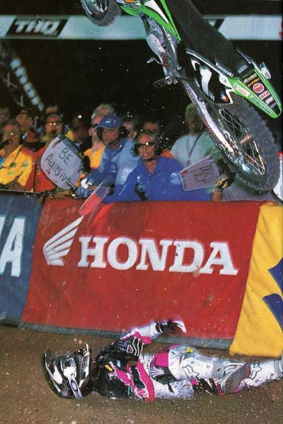 This was the crash at the '03 Vegas 125 Supercross finale that cost James Stewart the first four rounds of the 125cc Nationals.