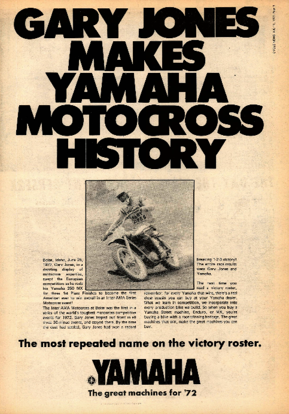 Yamaha boasted about Jones' triumph with this win ad in Cycle News.
