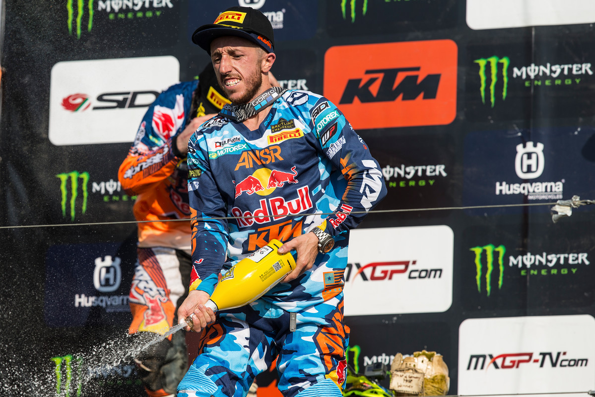 Cairoli leads the championship by 44 points over Gajser in second place.