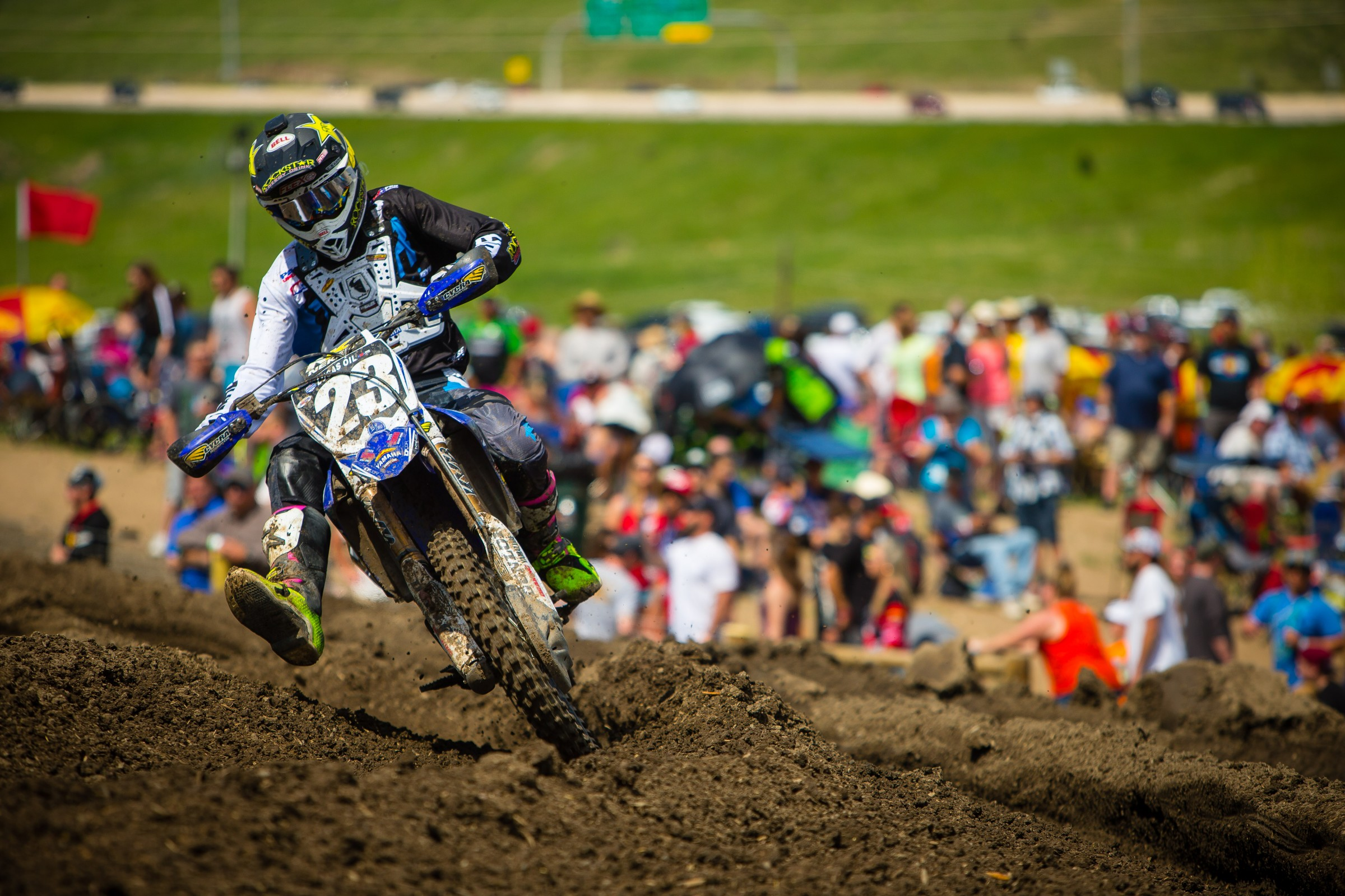 Plessinger's second moto came unravelled when he crashed and wasn't able to cross the track to get back to his bike.
