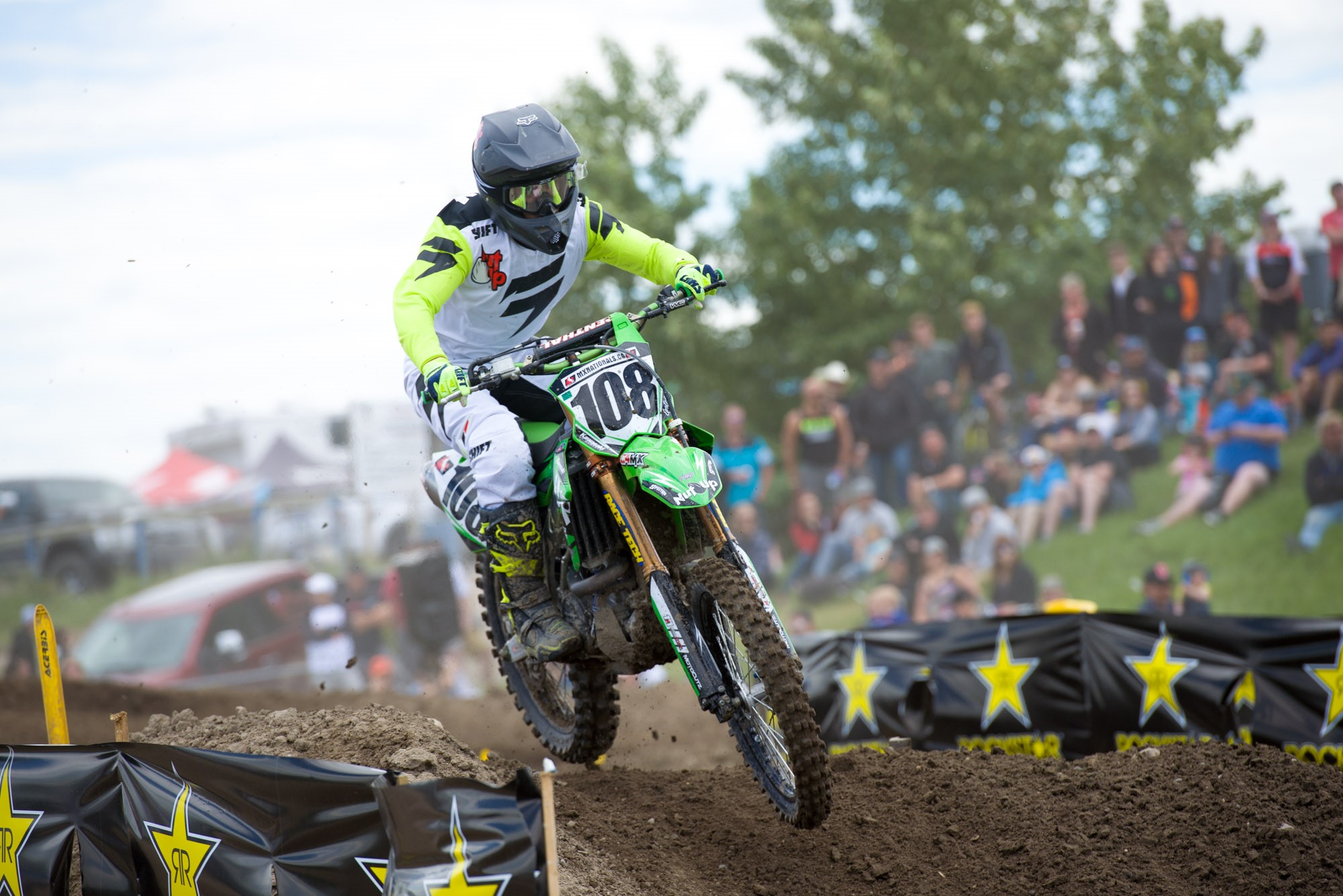 Nut Up Industries Kawasaki's Dillan Epstein led every lap of the first moto for the wire to wire win.