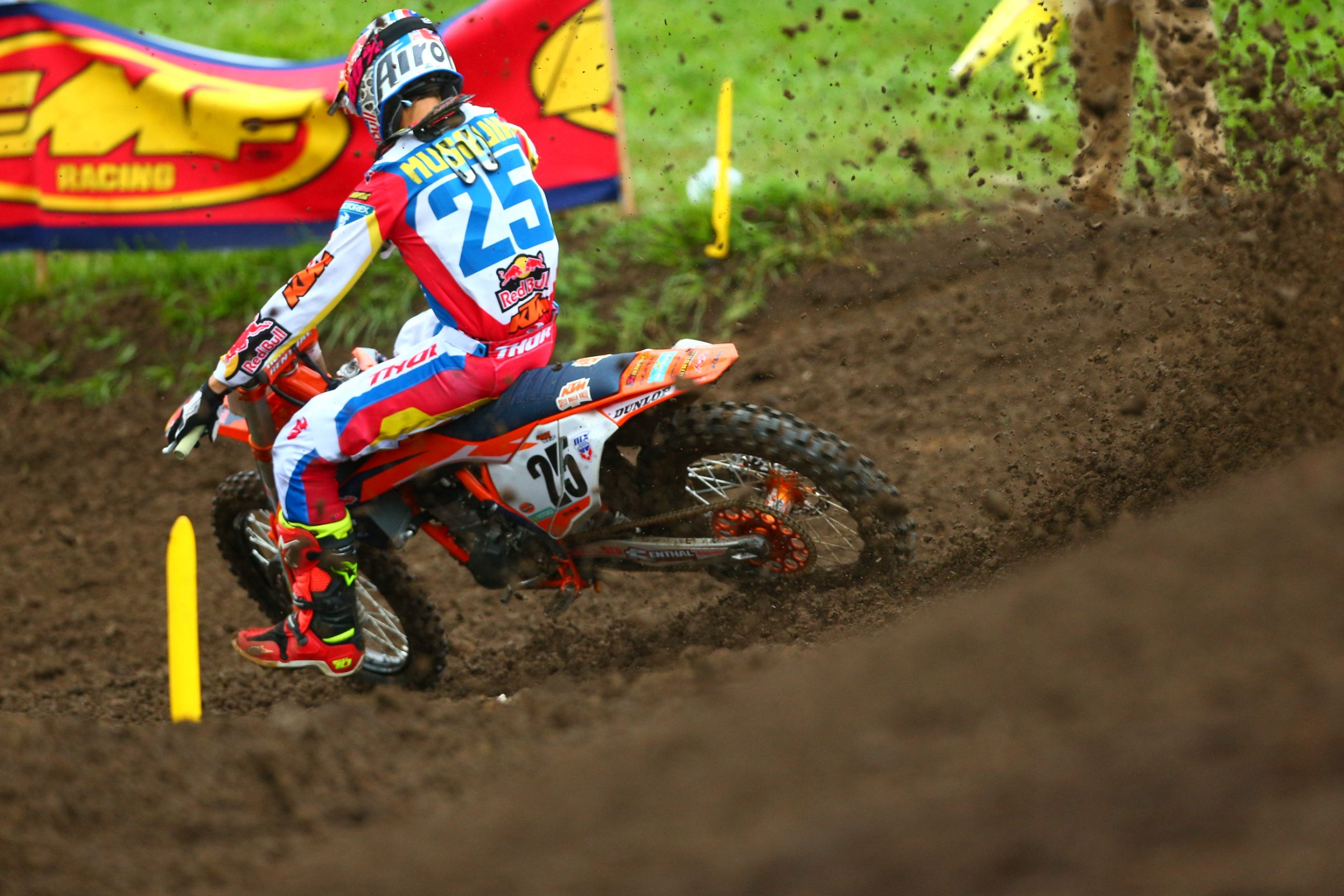 Poor Marvin Musquin fought through his knee injury all day only to have front brake problems lead to a DNF in moto two.