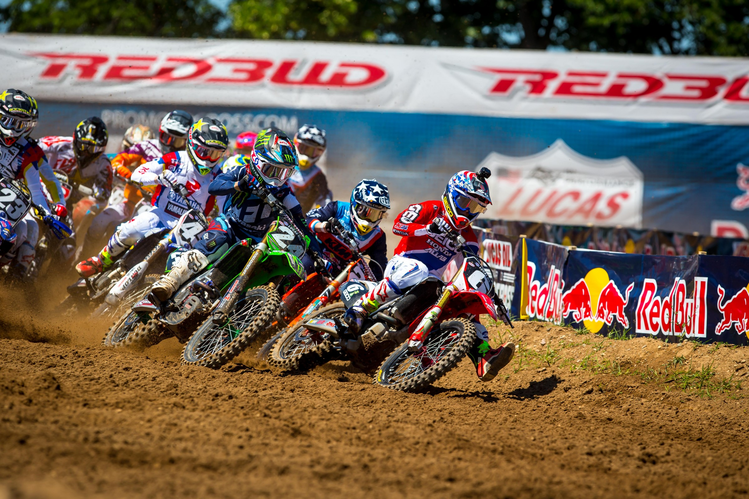 Forkner (#24) was in fourth after lap one of the first moto.