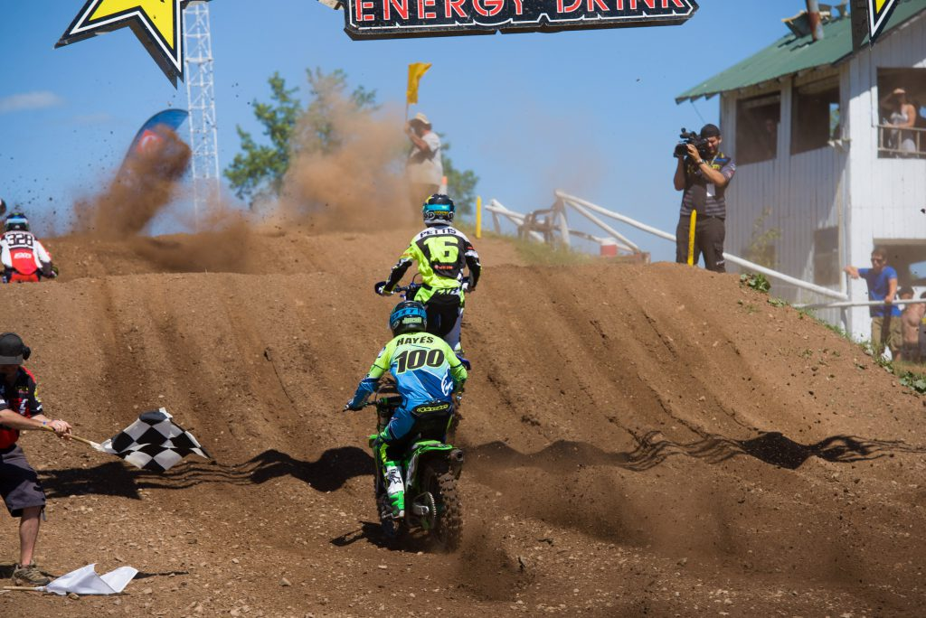 MX101 FXR Yamaha Team's Jess Pettis hung on to get his first moto win and overall victory of his career.
