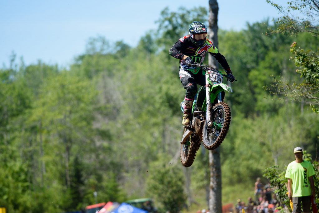 Monster Energy Alpinestars Kawasaki's Jacob Hayes was solid all day on a difficult, slick racetrack.