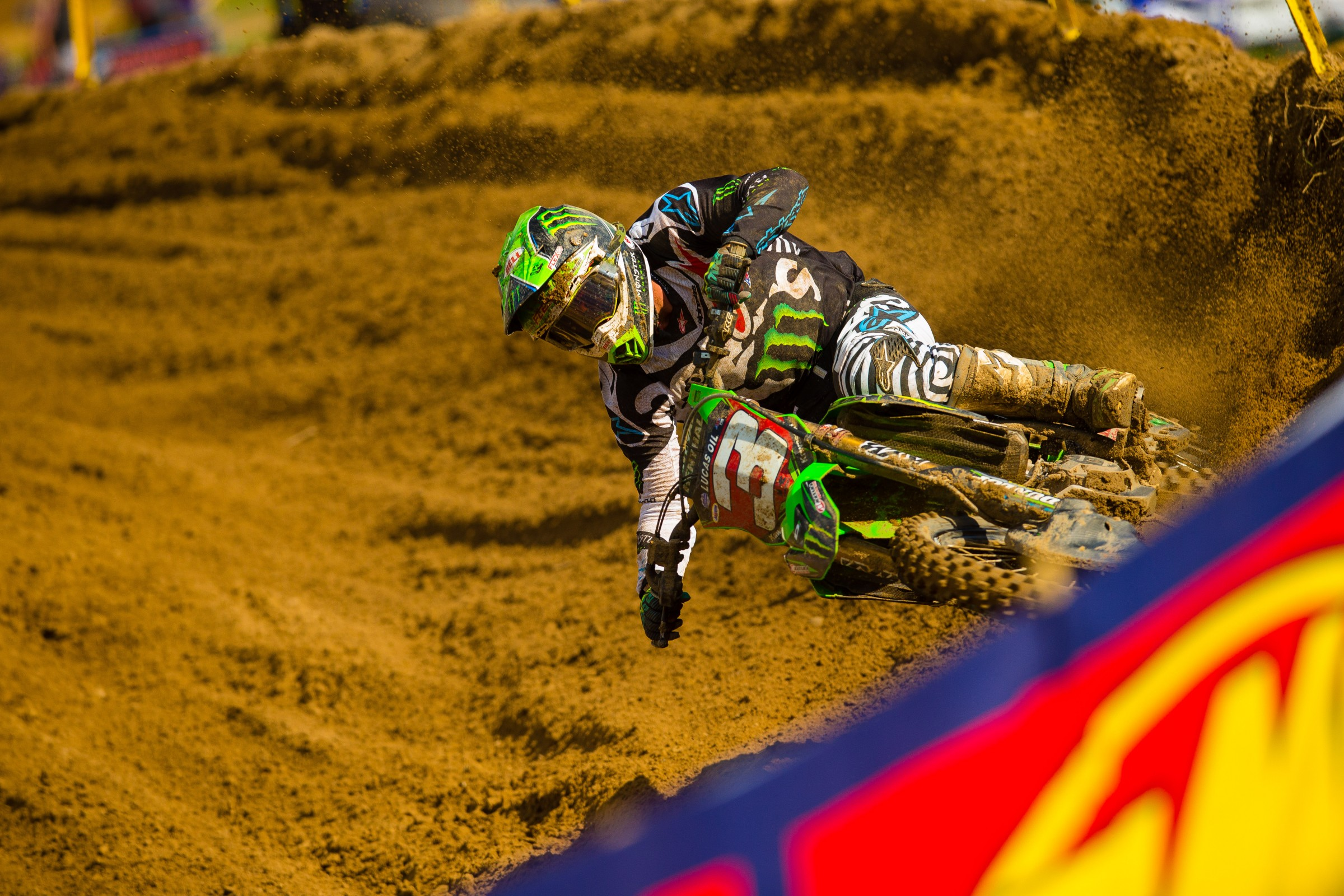 Tomac crashed twice in the opening laps of the second moto.