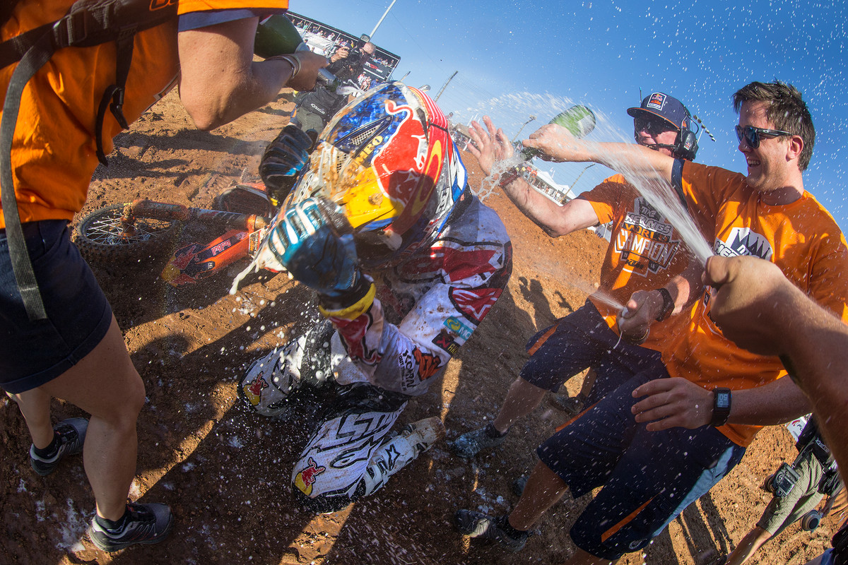 The last time Herlings raced in the U.S. he got a champagne shower as he clinched his third MX2 title.