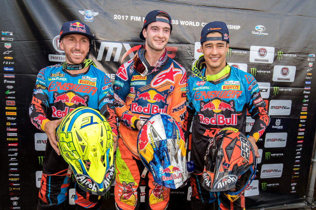 KTM riders (Cairoli, left; Herlings, center; Coldenhoff, right) swept the MXGP class at Lommel this past weekend.
