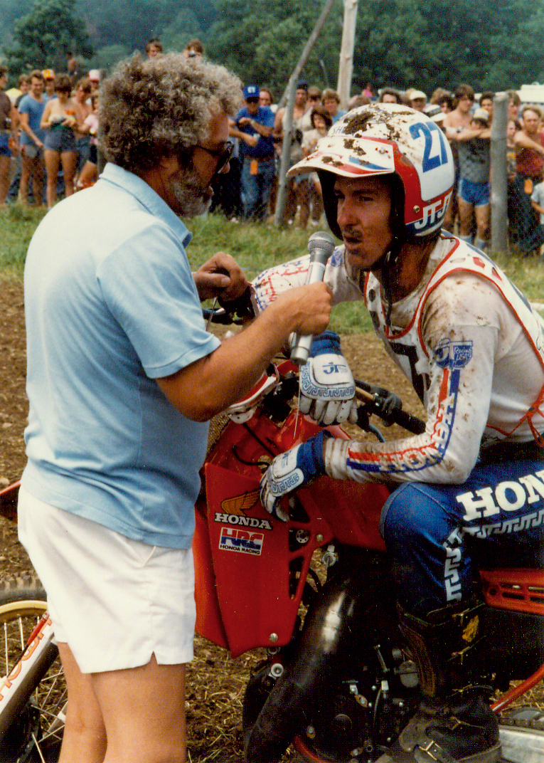 An exhausted Bailey talks to Unadilla announcer Larry Maiers.