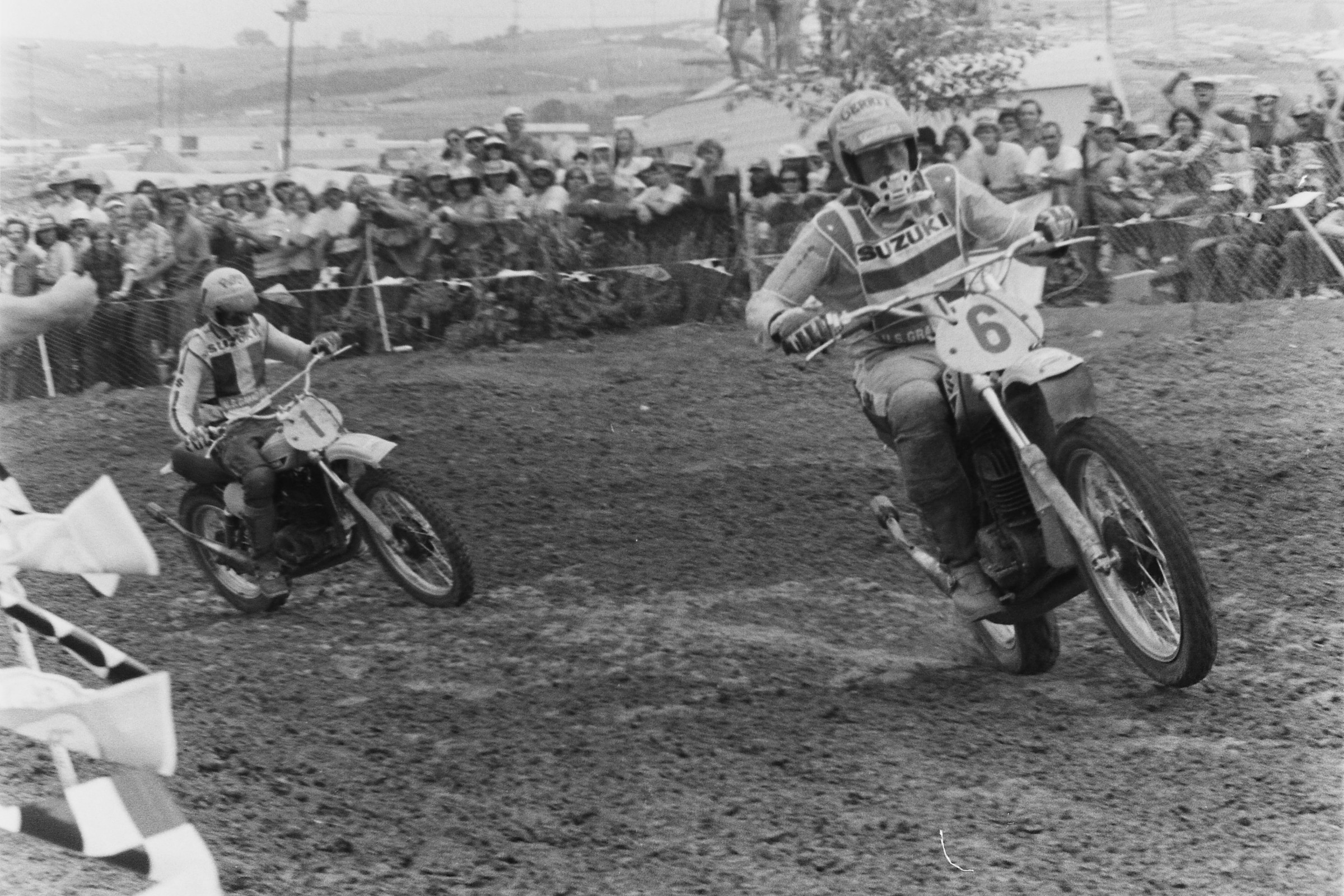 Gerrit Wolsink leads his Suzuki teammate DeCoster in the first moto.