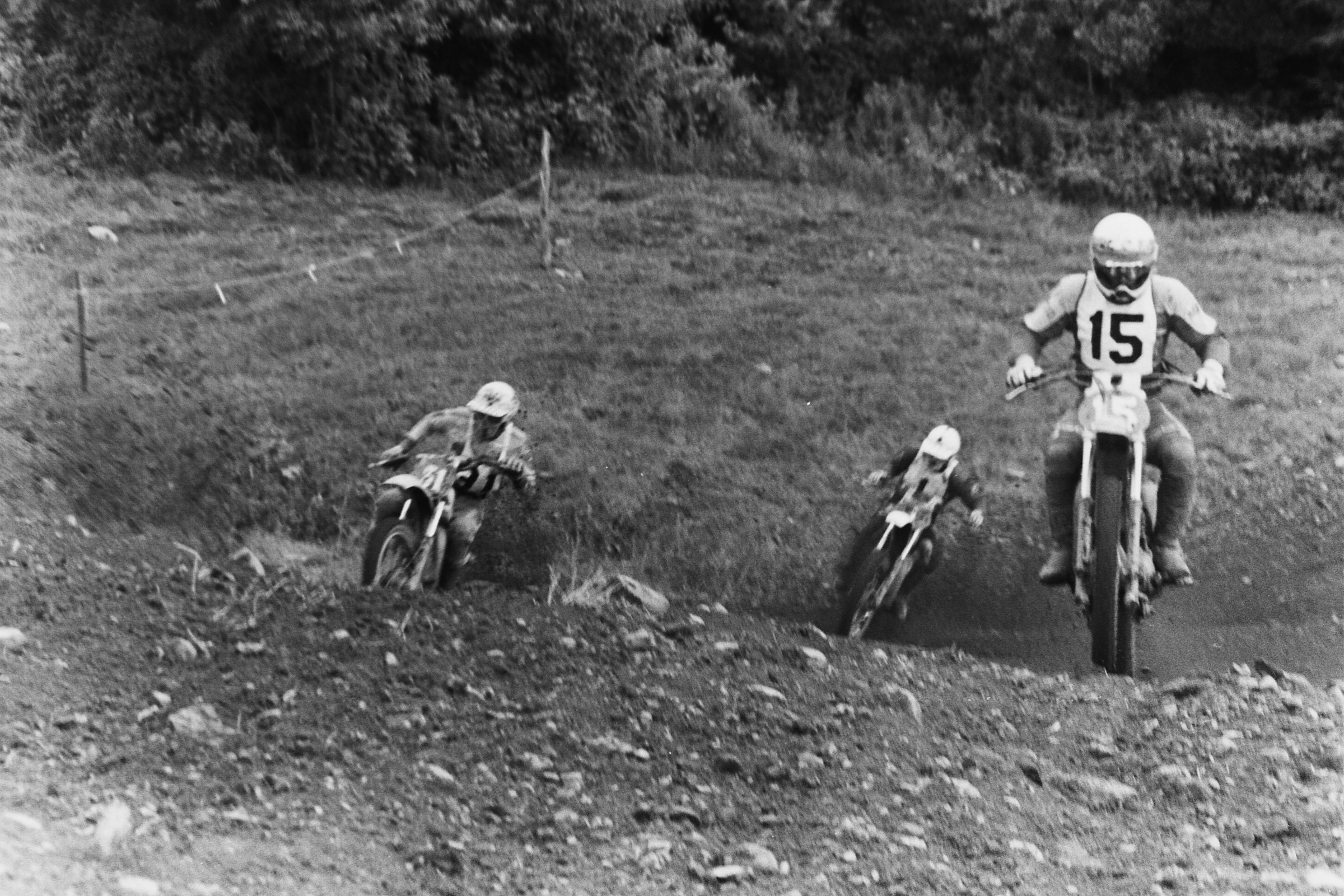 English Maico rider Neil Hudson (15) leads Pennsylvania Yamaha rider John Savitski (31) and 250cc World Champion Gennady Moiseev at the bottom of Screw-U.
