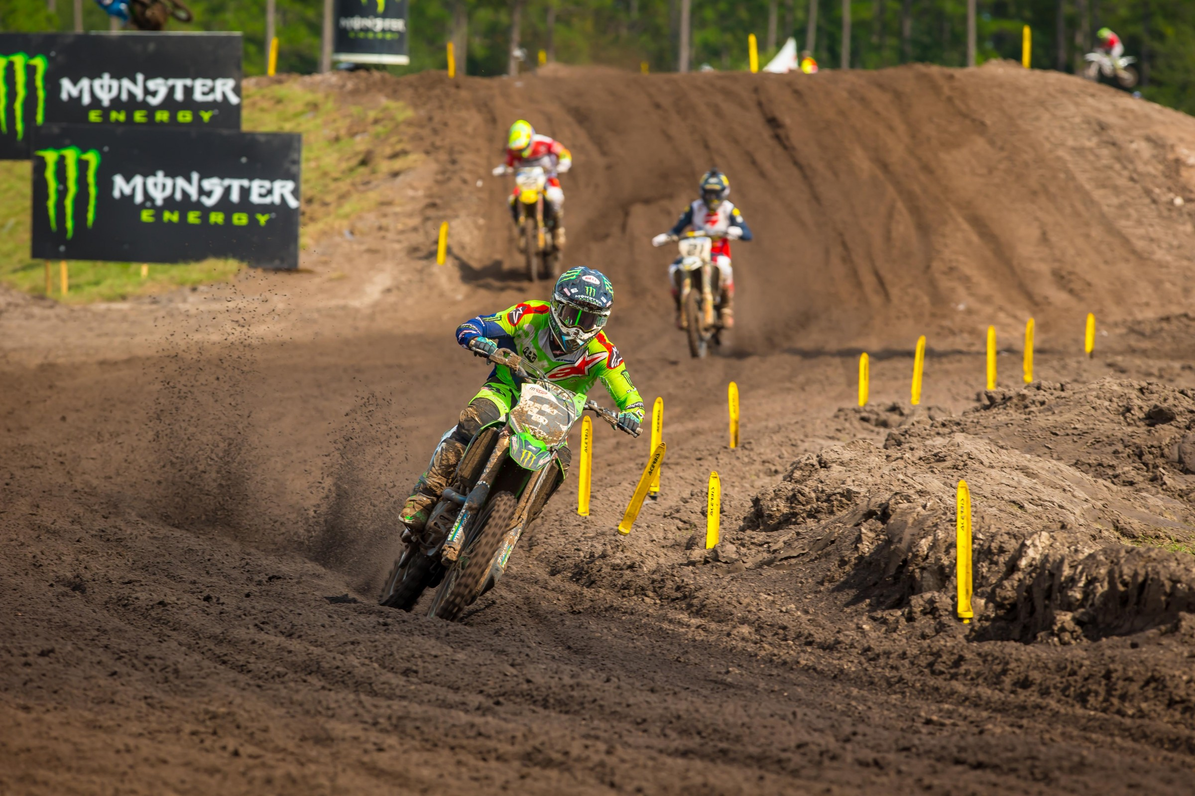 Eli Tomac ran away with the first moto win. He finished second overall on the day.