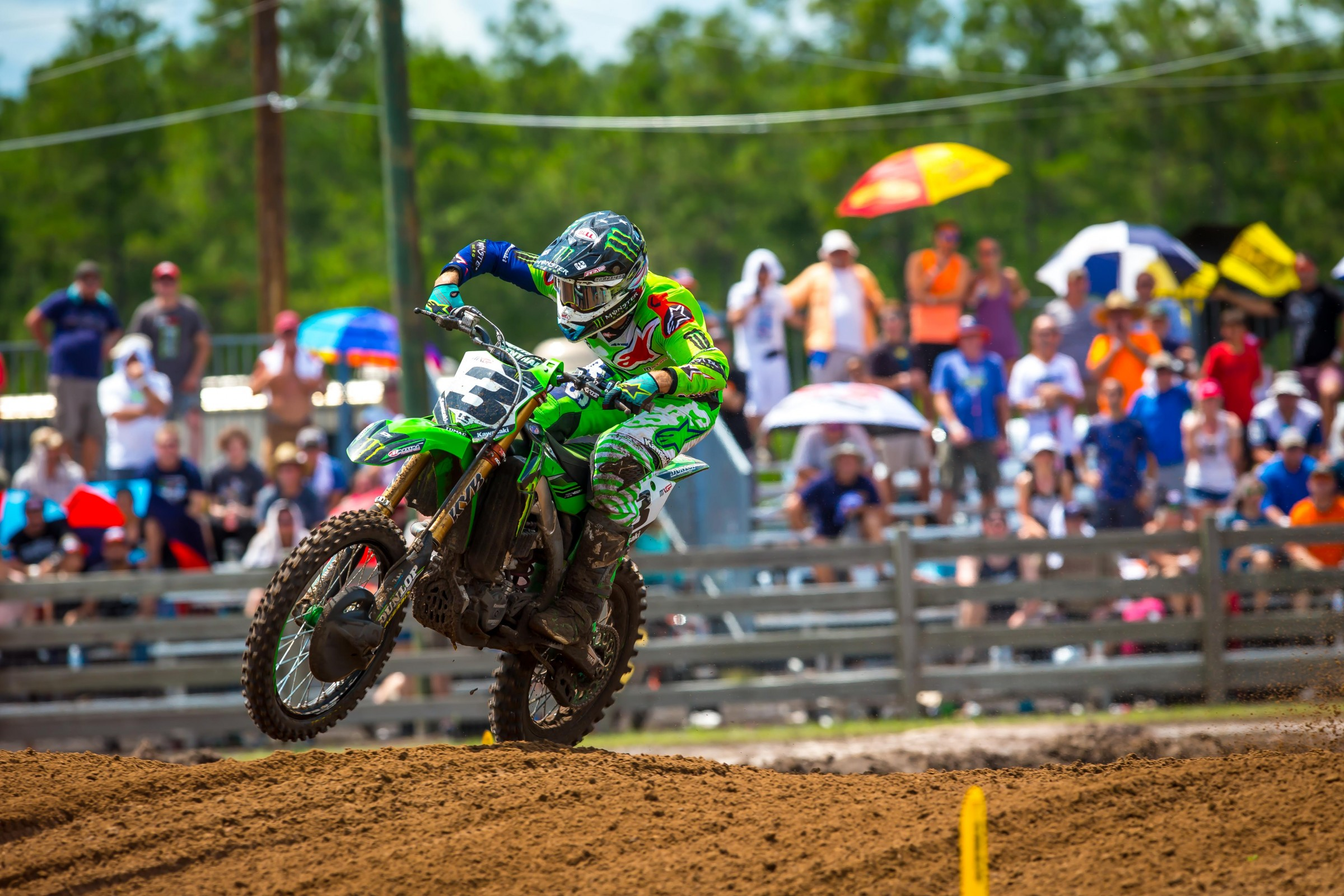 Tomac rebounded from a rough Saturday to win the first moto on Sunday at WW Motocross Park.