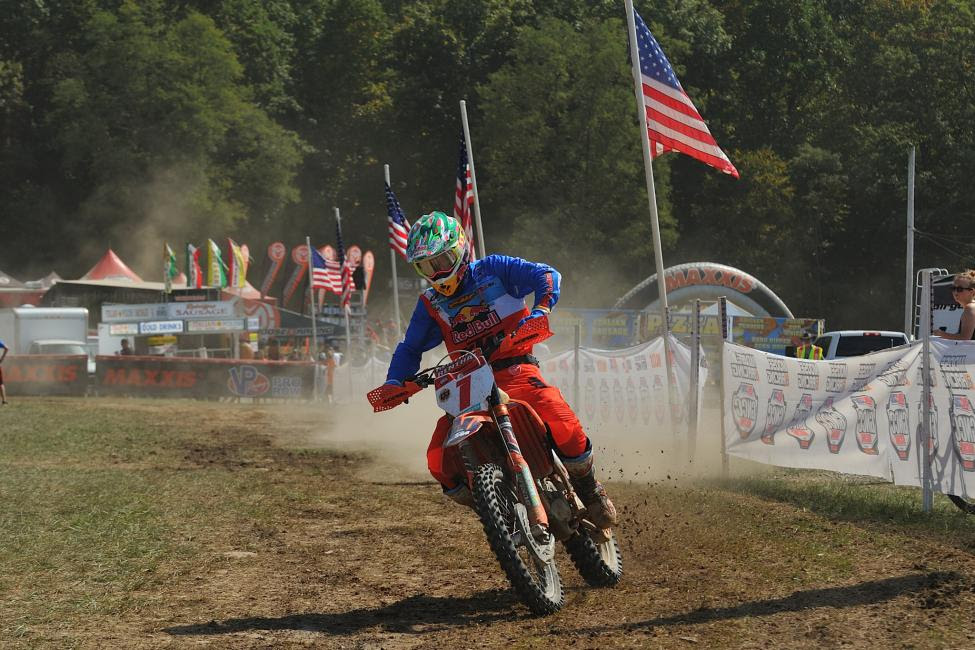 Kailub Russell remains on the hunt for his fifth consecutive GNCC championship after finishing second overall.